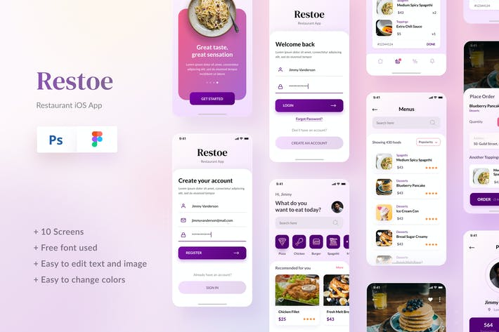 Thumbnail for Restoe - Restaurant Food App Design Figma & PSD