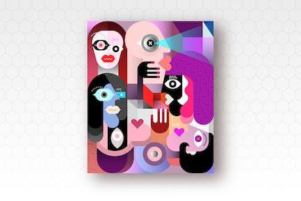 Люди Кубизм Искусство Вектор Иллюстрация