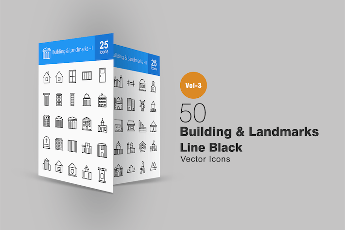 Thumbnail for 50 Buildings & Landmarks Line Icons