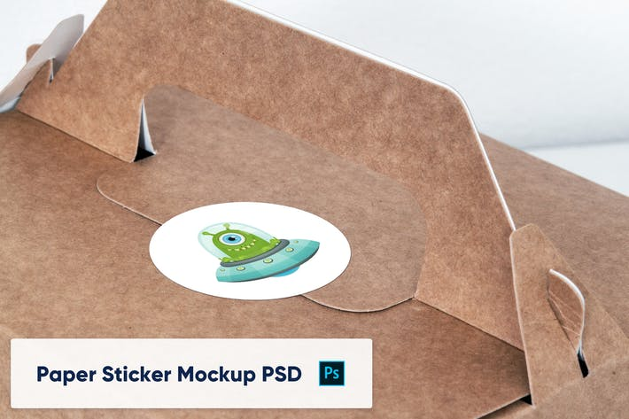 Thumbnail for Paper Sticker on Paper Box - Mockup PSD