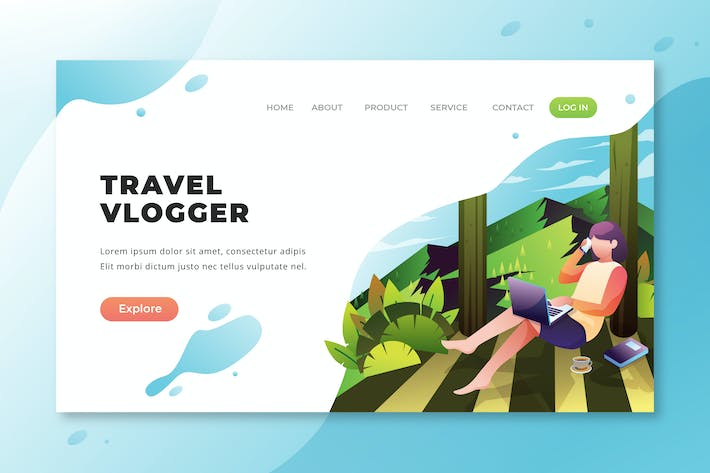 Thumbnail for Travel Vlogger - PSD and AI Vector Landing Page