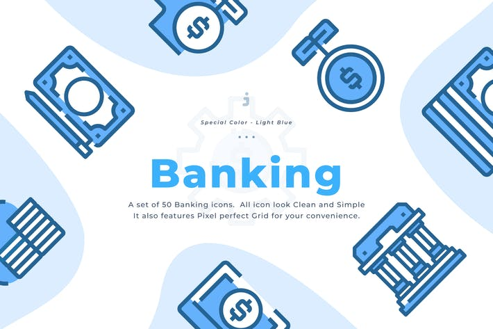 Thumbnail for 50 Banking Icon - Light Blue