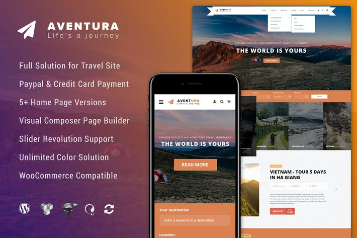 Thumbnail for Aventura - Travel & Tour Booking System WP Theme