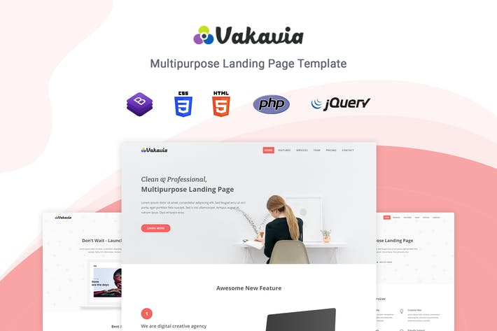 Cover Image For Vakavia - Multipurpose Landing Page Template