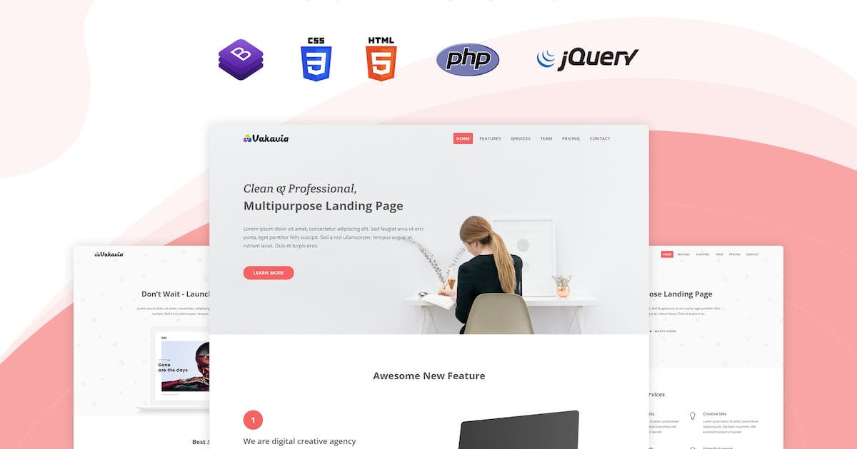 Download Vakavia - Multipurpose Landing Page Template by themesdesign