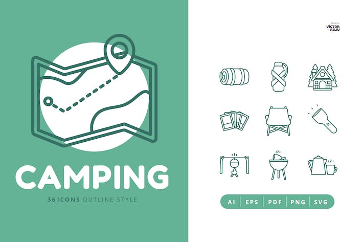 36 Icons of Camping Outline Style