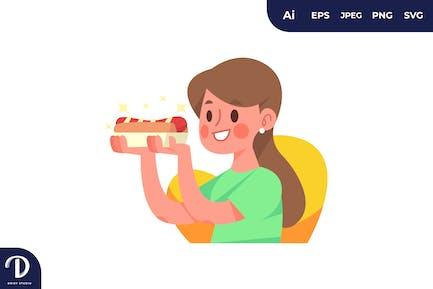 Girl Holding a Hotdog