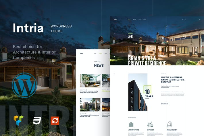 Thumbnail for Intria - Architektur und Interieur WordPress Thema