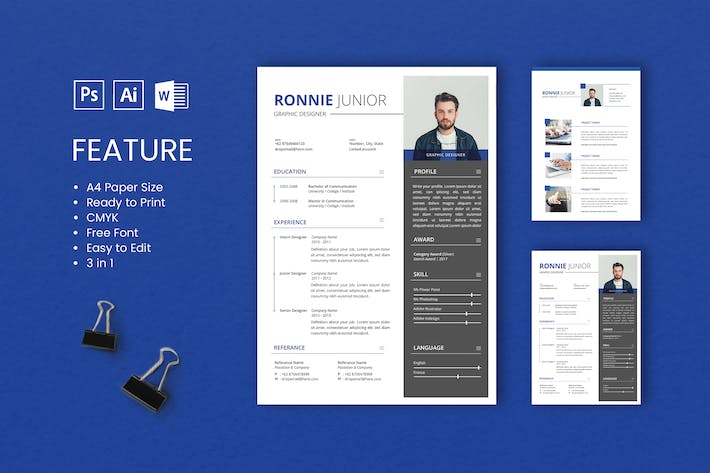 Thumbnail for Professional CV And Resume Template Ronnie