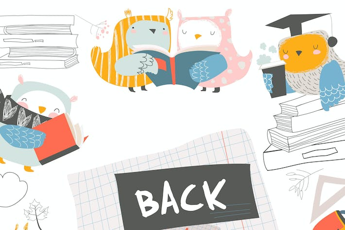 Thumbnail for Vector cute frame composed of cute owls with books