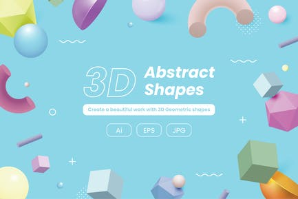 3D Geometric Shapes Set Pastel Color