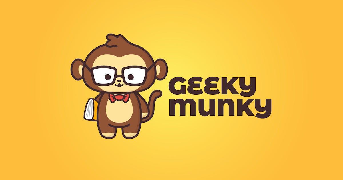 Download Cartoon Geek Monkey Holding Book Mascot Logo by Suhandi