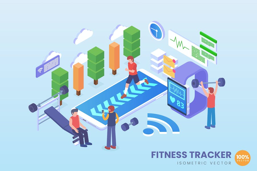 Isometric Fitness Tracker Vector Concept