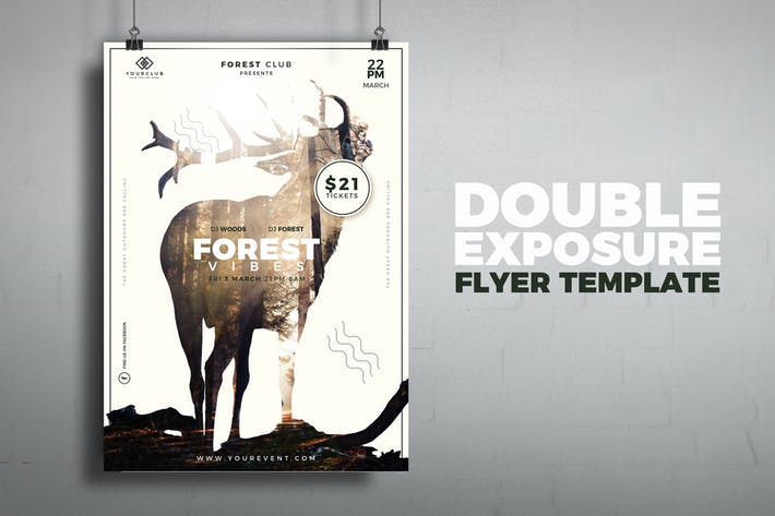 Cover Image For Nature Double Exposure Flyer Template
