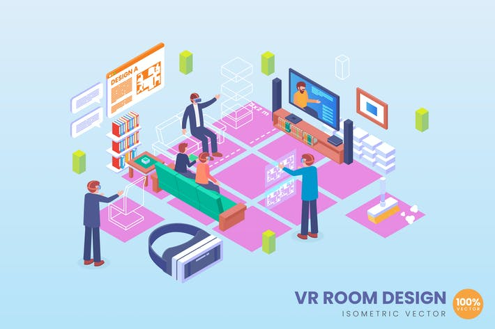 Thumbnail for Isometric VR Room Design Vector Concept 2