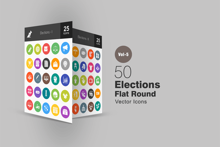Thumbnail for 50 Elections Flat Round Icons