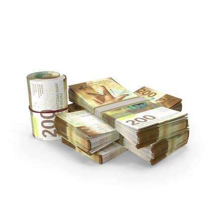 Kleiner Haufen Schweizer Franken-Stacks