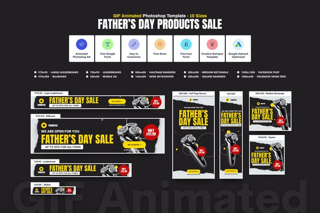 GIF Banners - Father's Day Sale Banners Ad