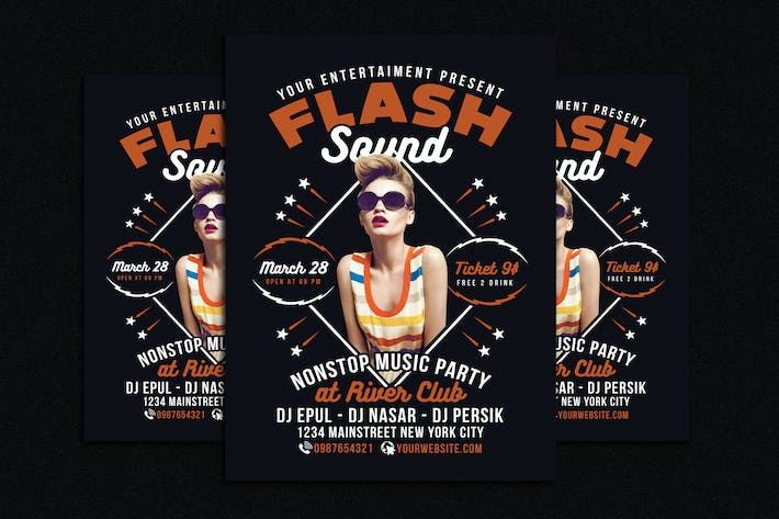 Thumbnail for Flash Sound Disco Music Party Flyer