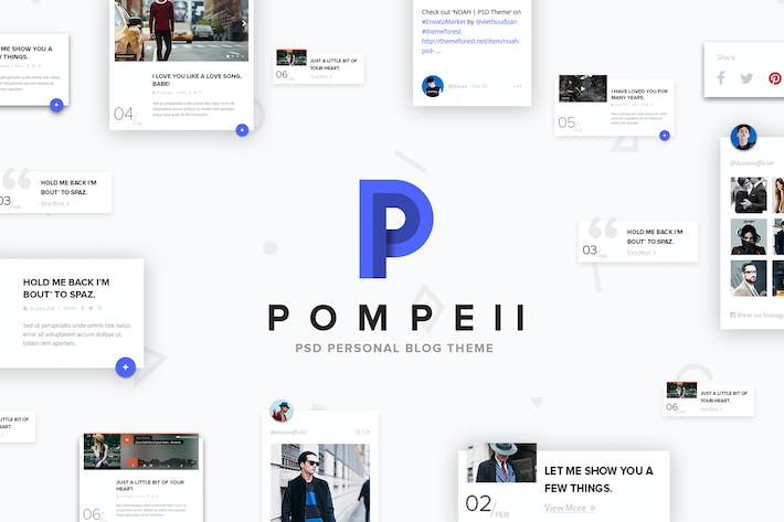 Thumbnail for POMPEII | Material Personal Blog PSD Template