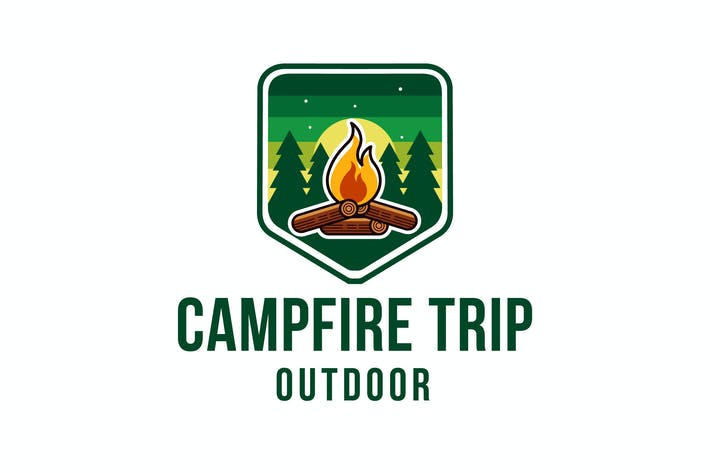 Campfire Trip Outdoor Logo Template