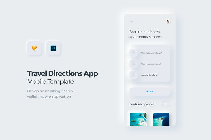 Thumbnail for Travel & Booking Mobile App UI Kit Template 2