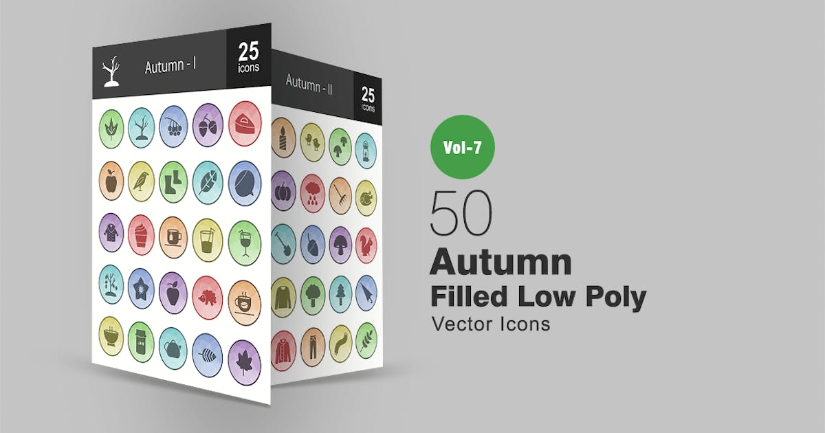 50 Autumn Filled Low Poly Icons by IconBunny