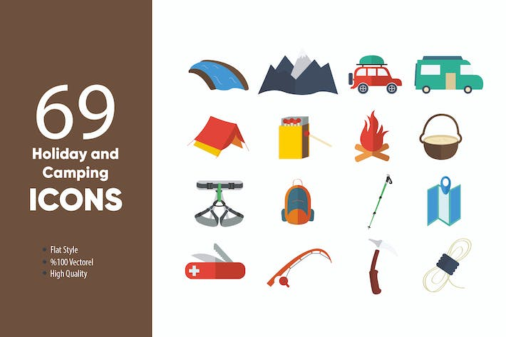 Thumbnail for Holiday and Camping Icons