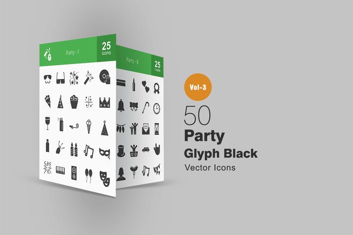 Cover Image For 50 Party Glyph Icons