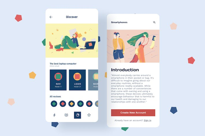 Thumbnail for Discover Mobile Interface Illustrations