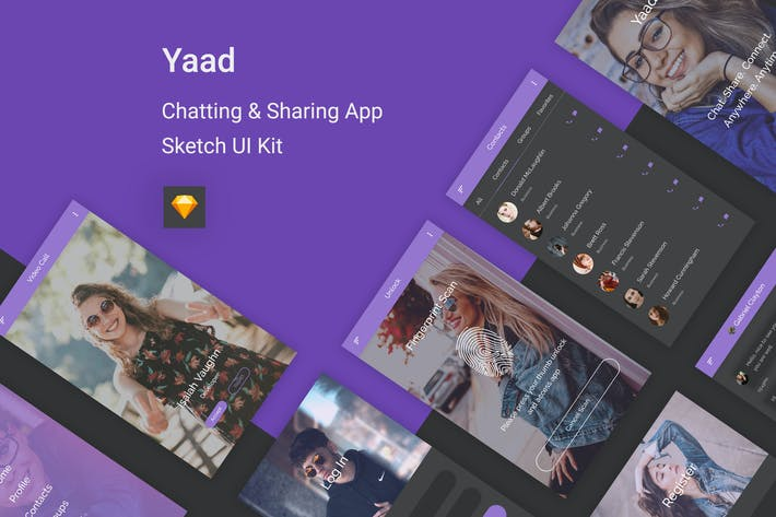 Thumbnail for Yaad - Chatting & Sharing UI Kit for Sketch