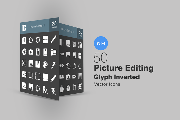 Thumbnail for 50 Picture Editing Glyph Inverted Icons