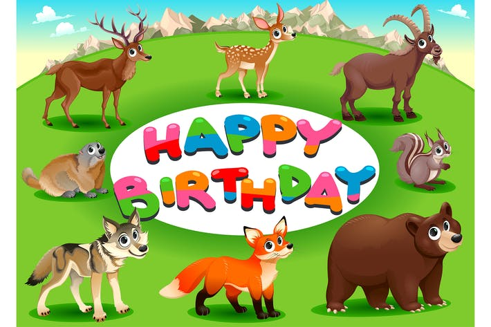 Thumbnail for Happy Birthday Card with Mountain and Wood Animals