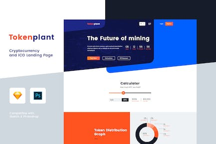 Cryptocurrency and ICO Landing Page (PSD + Sketch)