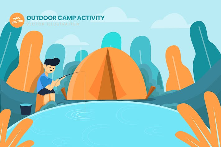 Thumbnail for Outdoor Camp Activity Flat Vector Illustration