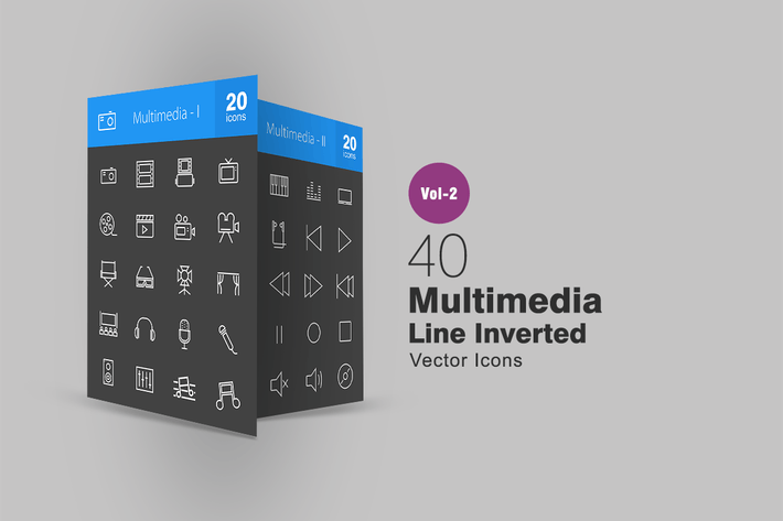 Thumbnail for 40 Multimedia Line Inverted Icons