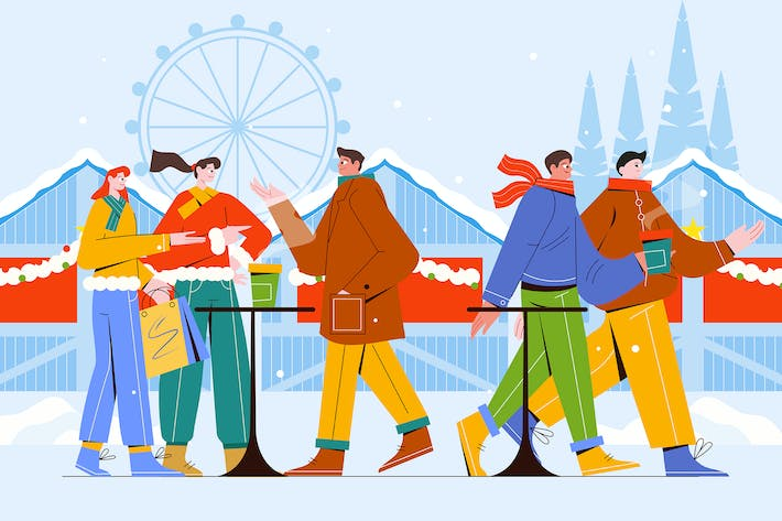 Thumbnail for Traditioneller Weihnachtsmarkt - Vektor Illustration