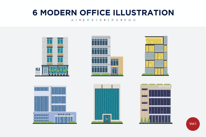 Thumbnail for 6 Modern Office Vector Illustration Set 1