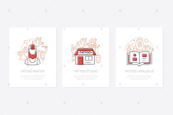 Thumbnail for Tattoo studio - line design style banners
