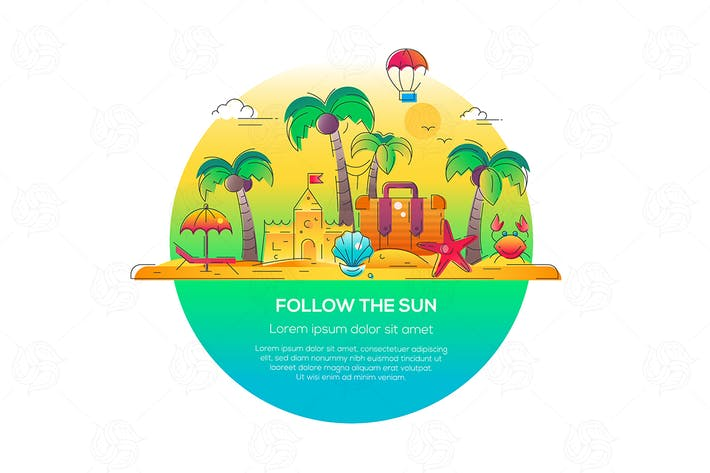 Cover Image For Follow the Sun - vector line travel illustration
