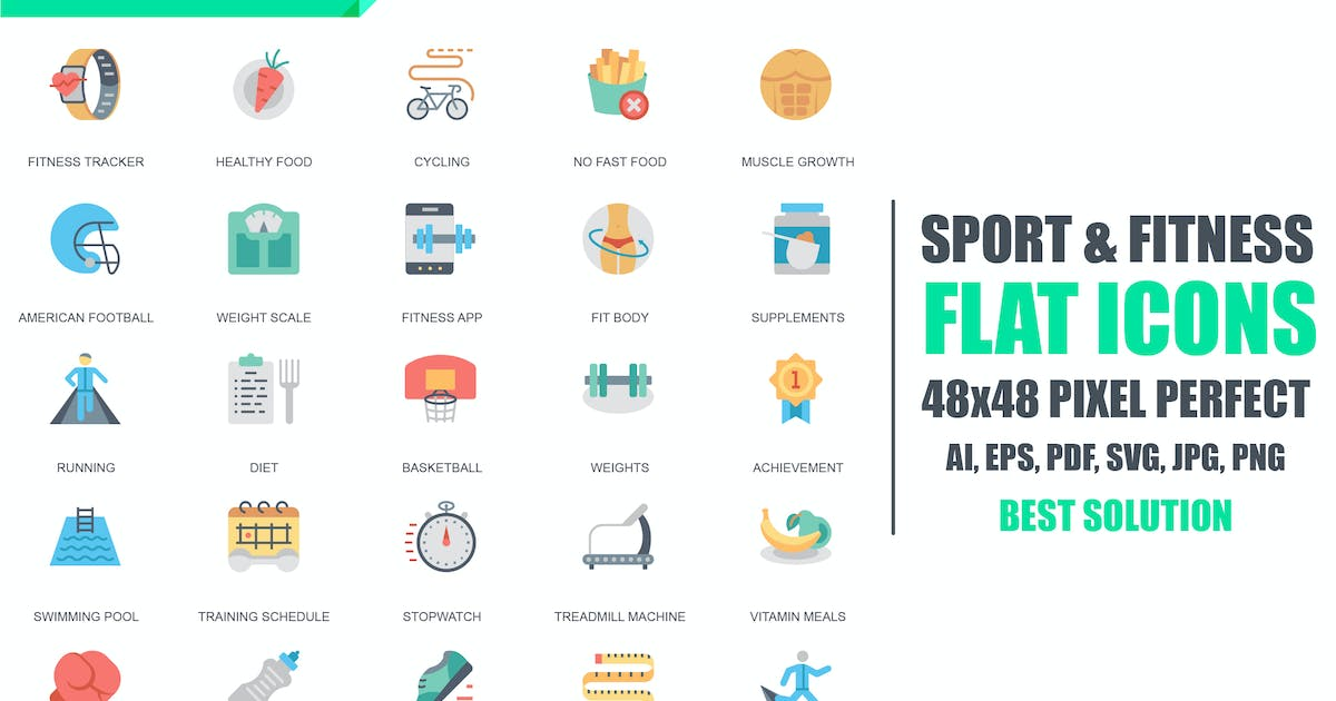 Download Simple Set Sport and Fitness Flat Icons by alexdndz