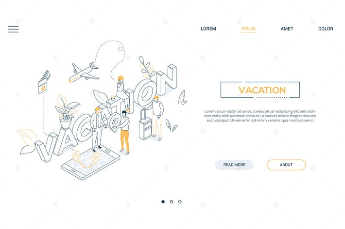 Thumbnail for Vacation and travel - isometric web banner