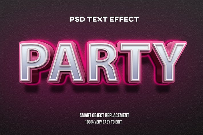 Party neon glow text effect