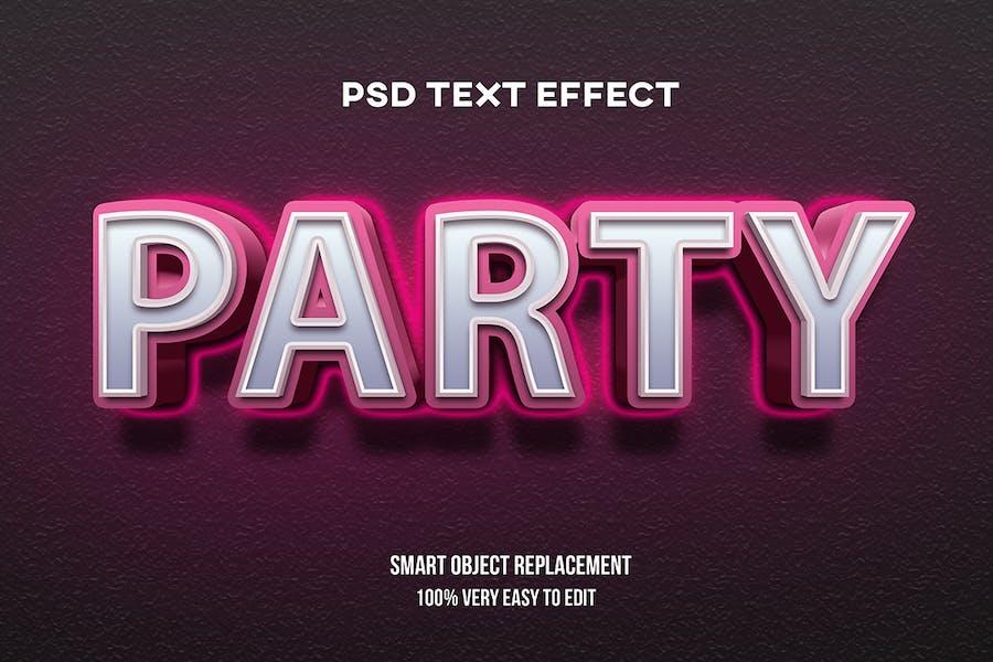 Партия неоновый светящийся текстовый эффект