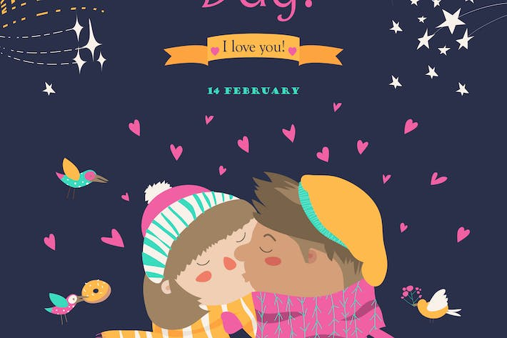Cover Image For Valentines card with kissing couple and firework