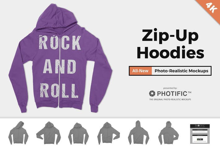 Thumbnail for Zip-Up Hoodie Sweatshirt Mockups