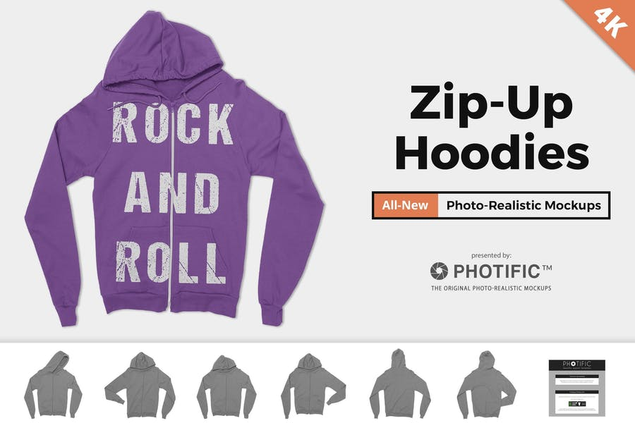 Hoodie Sweatshirt mit Reißverschluss Mock-ups