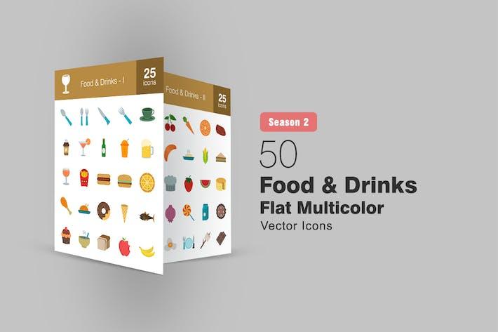 Thumbnail for 50 Food & Drinks Flat Multicolor Icons Season II
