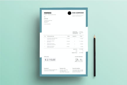 Invoice Business with Dark Teal Frame Background