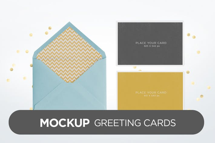 Thumbnail for Invitation Greeting Cards Holidays Mock-Up